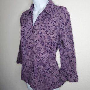 Purple Paisley Button-Down Long Sleeve Blouse XL